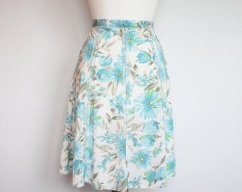 Blue Vintage Floral Midi Skirt