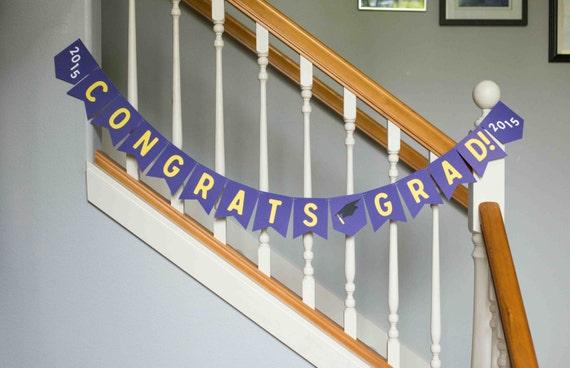 Graduation banner, Congrats Grad, school colors, cap