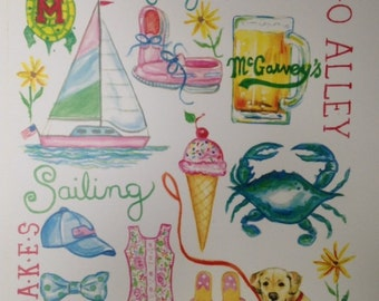 Annapolis, Maryland, Preppy, Lilly Pulitzer inspired Print 16 x 20 inch fits in standard size frame.  Perfect for USNA.