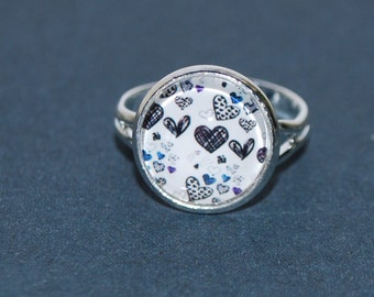 Adjustable ring - small blue hearts