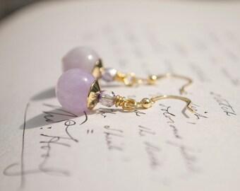 Lavender Lilac Amethyst Gold Earrings