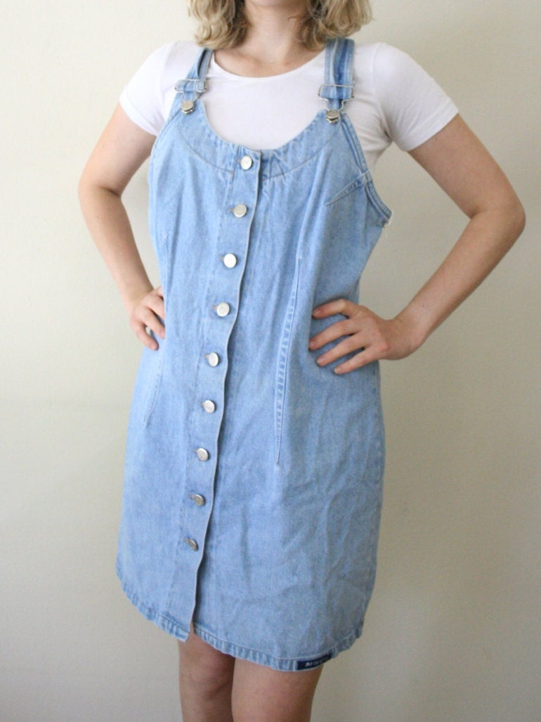 90s Denim Jumper Dress Pinafore Dress Overall by DownHouseVintage