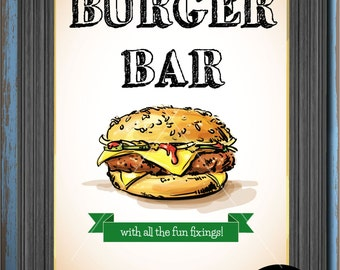 Illustrated Mouth-watering Juicy Burger in this Burger Bar Sign - 8.5x11 and 8x10 digital download for your next bbq or late night buffet!