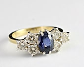 Sapphire and diamond engagement wedding ring in 18 carat white or yellow gold promise ring multi-stone ring