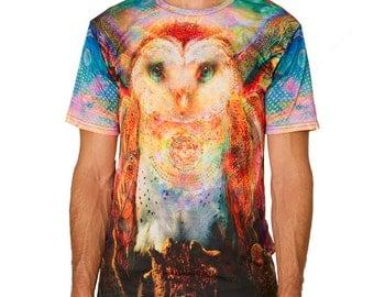 Owl - Full Spectral Color Jumbie Art Graphic T-shirt