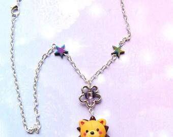 Bleach anime necklace with Kon handmade polymer clay charm, Anime jewelry, kawaii