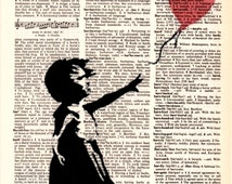 """Dictionary Art Print,Vintage poster,Digital,print & poster,Illustration drawings,Gifts kids,wall decor,Home Living, """"Admiration for Banksy""""1"""