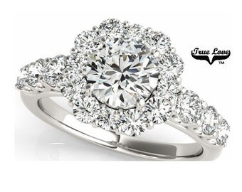 Moissanite Engagement Ring 14kt White Gold, Trek #1Quality D-E-F color Moissanites Wedding Ring, Halo Engagement with Side Moissanites #7229