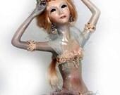 Mermaid doll OOAK - art mermaid sculpture - little mermaid Alanis , unique handmade pearl for interior home decor - 8 inch