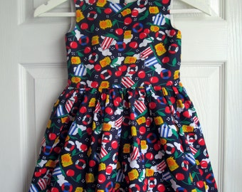 Girls Nautical Print Summer Dress, Fully Lined, Made in UK
