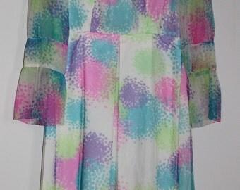 Vintage  dress in silk 70s LINDA Faubourg Saint Honoré Paris