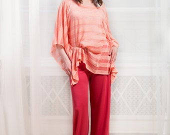 GLORIA Pants - One-of-a-kind coral red wide leg pants, pockets in the back, elastic belt