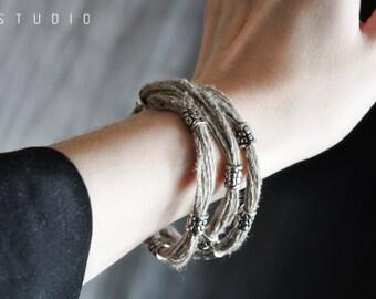 Natural linen bracelet boho style