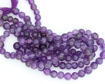 "Natural Purple Amethyst smooth round beads, 13"" Strand, 5mm Bead, J-010"