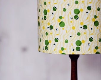 Retro lampshade, lamp shade, desk lamp, handmade lamp shade, custom lamp shade, geometric, green decor, mid century modern, drum lamp shade