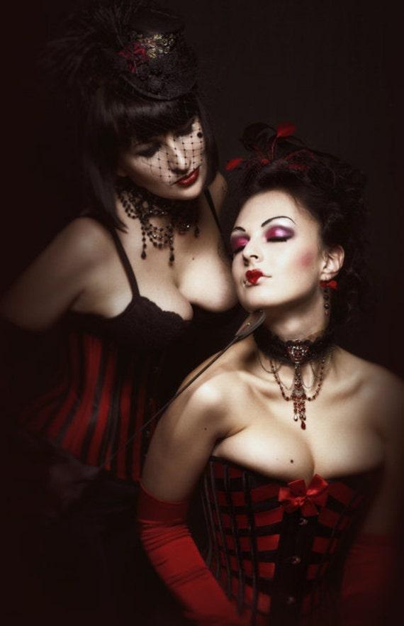 Striped Underbust Corset ~ Fetish Victorian Vampire Waspie ~ Gothic Steampunk Burlesque Waist Cincher ~ Waist Training Bespoke Corsets