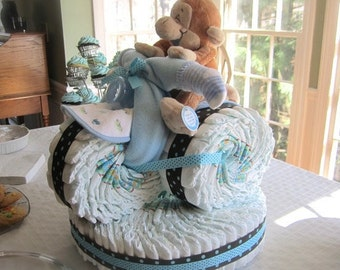 Tricycle Diaper Cake - Unique Boy Baby Shower Centerpiece - Unique Baby Boy Gift - Motorcycle Diaper Cake with Stuffed Animal Rider & Base