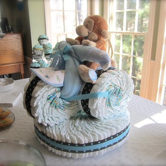 Tricycle diaper cake unique boy baby shower centerpiece for How to create a baby boy