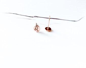 Leo Stud Earring 18K Rose Gold Horoscope Stud Earring Star Sign Earring Simple Everyday Earring Birthday Gift Horoscope Astrology Earring