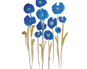 "SALE Flowers Print - ""Blue Flowers"""