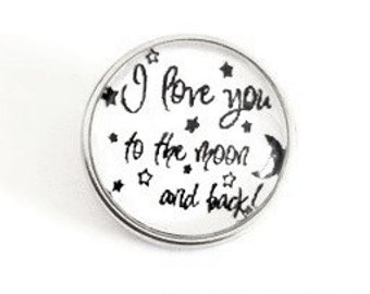 Snap Charm with the text I love you to the moon and back fits Noosa, Ginger snaps jewelry and other interchangeable jewelry, Christmas gifts
