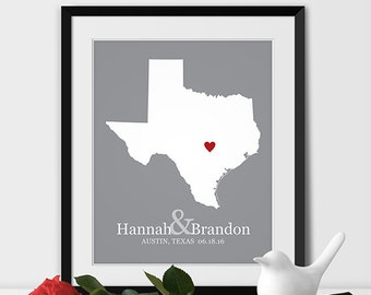Texas State Map Art, Austin Wedding Gift for Couples Anniversary Gift Personalized Couples Gift for Her Texas Gift -Any STATE