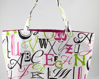 Shopping bag, Market bag, Tote bag, Alphabet, Pink, Lime, Black, White