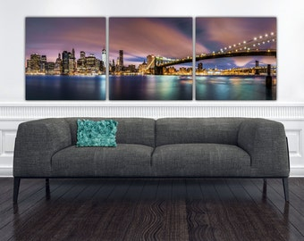 NYC Skyline with Brooklyn Bridge Canvas Art, New York art, New York Photo, New York Wall art, New York Print, Big Canvas, Plum, Teals