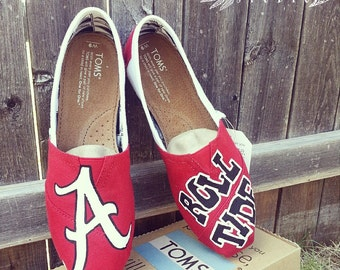 Custom Hand Painted Alabama Crimson Tide TOMS Canvas Shoes | free shipping- Roll Tide | SEC | College TOMS Shoes | Bama Shoes | Crimson Tide