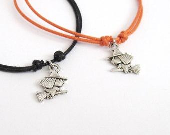 WITCH antique silver color minimalist bracelet cotton cord friendship bracelet cute little witch