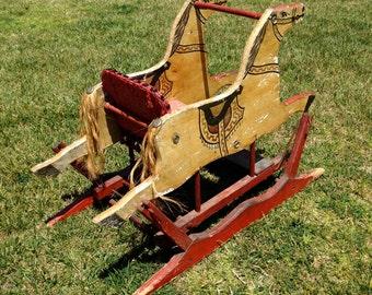 Wood Rocking Horse Glider, Antique Rocking Horse Photo Prop, Vintage Children's Photography Prop, Americana Folk, Primitive, Nursery
