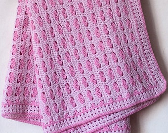 Crochet pink baby blanket with hearts, knitted baby afghan, newborn baby blanket, baby girl blanket, baby shower gift