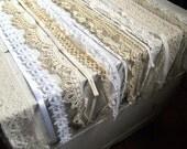 """Vintage white lace sampler, mixed pack of 16 pieces of vintage lace, ribbon, trim, 24"""" each piece, destash sewing scrapbook art trim"""