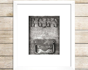 Black and White Photo, Black and White Kitchen Art, Country Kitchen Art, Egg Crate Sign, Rustic Black and White Print, Rustic Kitchen Decor