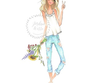 Flower child - fashion illustration