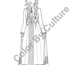 fashion coloring book printable around the world coloring pages volume 2 cultural coloring fashion coloring - Girl Indian Coloring Pages