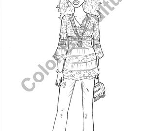 Pretty Portraits Vol1 5 Printable Coloring Pages Fashion