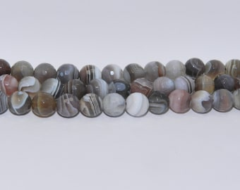 Botswana Agate - Full Strand - 8 mm, Round, Faceted, Natural - BOTSA-F-R-8