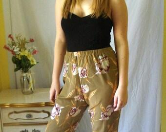 Vintage Tan Floral Soft Pants, Mauve Flowers, Printed Soft Pants, Spring Pants