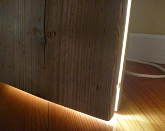 "Reclaimed wood countertop led lamp Line ""Magut"", modern wood lamp led lights, industrial style furniture"