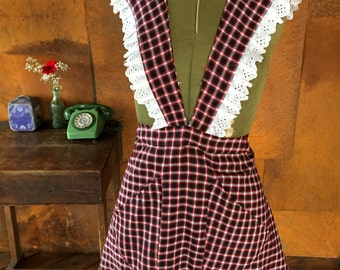 Womens Handmade Vintage Inspired Apron Red Checks One Size Fits All