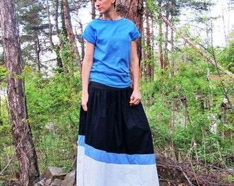 Plus Size Skirt, Elastic Skirt, Navy Blue Skirt, Maternity Skirt, Maxi Skirt, Long Skirt, Summer Skirt, Wrap Skirt, Flared Skirt, Day Skirt