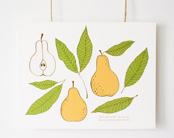 "Botanical Pear Illustration, Fine Art Print, ""The Shape of a Pear"", Vintage Inspired Art, Wall Art, Fruit Drawing, Pear Design, Pear pattern"