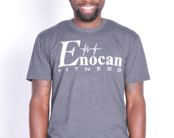 ENOCAN Men Fitness Signature Tee/Fitness T-Shirt - Charcoal