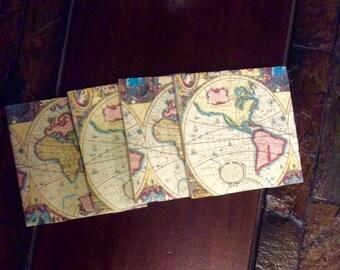 Old World Map Coasters/Handmade/Vintage Map
