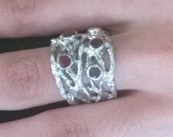 Silver + Garnet Stones Branches Ring