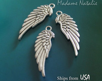 Angel Wing Charms 34x11mm (4), Tibetan Silver Angel Wing Pendants,  Angel Wing Findings, Silver Tone Wing Charms, Double Sided Angel Wings