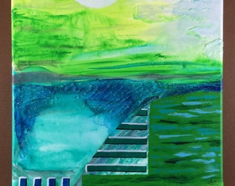 """Tall abstract painting Original fine art Ready to hang contemporary wall art Green teal textured art """"Ladder to the Sun"""" 14""""x11"""" on canvas"""