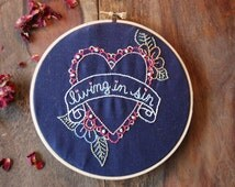 """Funny hoop art embroidery, hand-stitched """"living in sin"""", housewarming gift, couples, anniversary, wall art"""