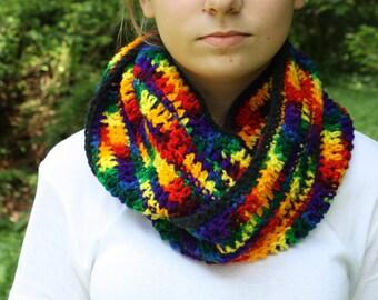 Rainbow Crochet Cowl
